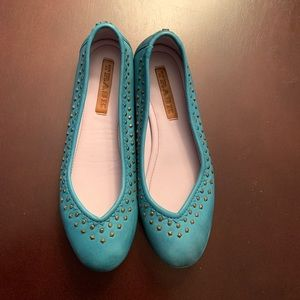 Trask Turquoise Studded Flats~Size 7